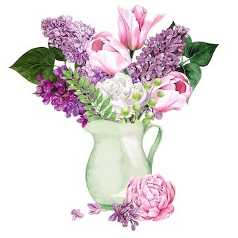 Aquarell lila blumen und blätter