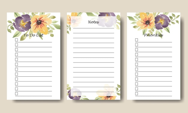 Aquarell lila gelb florale notizen to do list vector collection