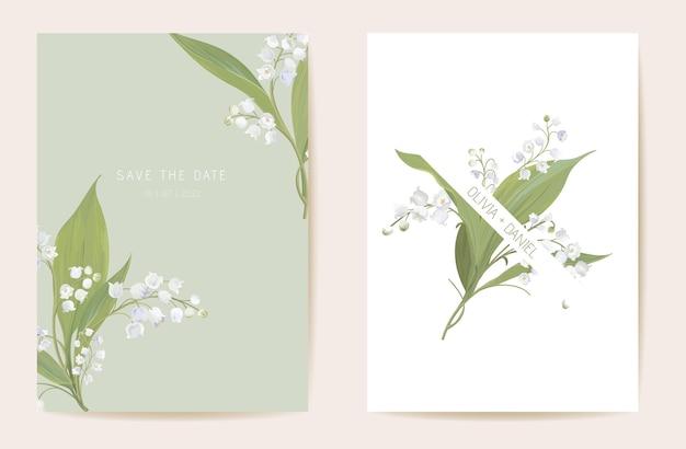 Aquarell lilie blumenhochzeitskarte. vektorfrühlingsblume, rustikale blüte, lässt einladung. boho-vorlagenrahmen. botanische save the date laubabdeckung, modernes design poster