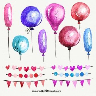 Aquarell luftballons und girlanden in den rosafarbenen tönen
