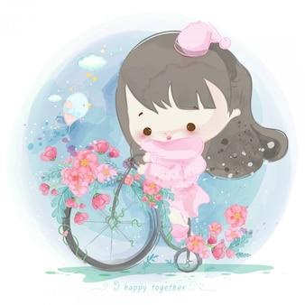 Aquarell mädchen auf einem fahrrad mit blumen