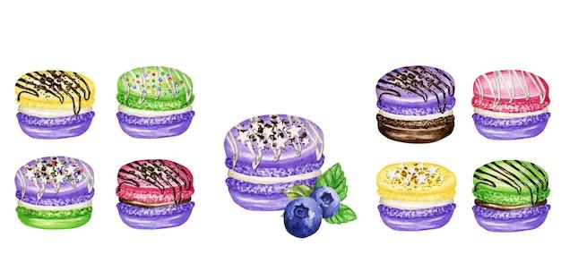 Aquarell-makronen-kuchen gesetzt. hand gezeichnete bunte makronenplätzchen, süß verziert mit schokolade, vanillecreme.