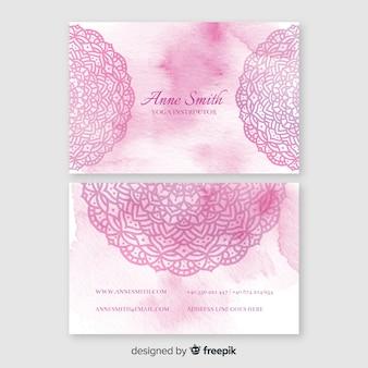 Aquarell mandala visitenkarte vorlage