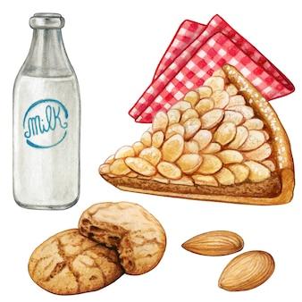 Aquarell mandelkuchen und amaretti kekse mit milch
