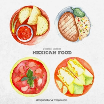 Aquarell mexikanische gerichte essen