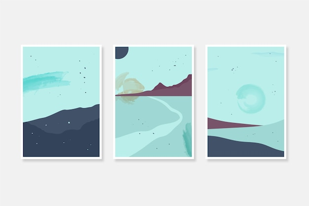 Aquarell minimale landschaftsabdeckungen