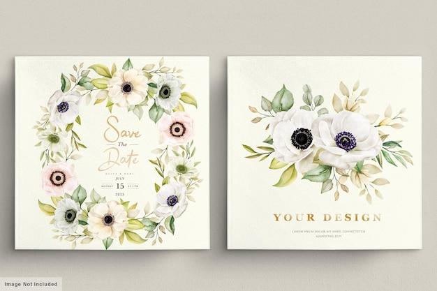 Aquarell-mohn-anemonen-blumeneinladungskarte Premium Vektoren