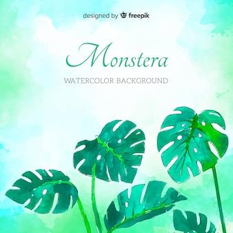 Aquarell monstera hintergrund