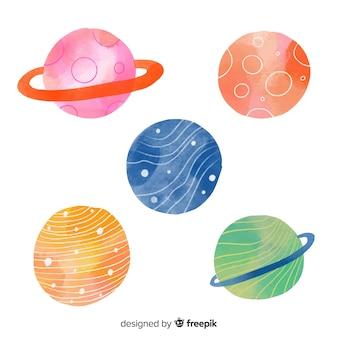 Aquarell multicolor planetensammlung