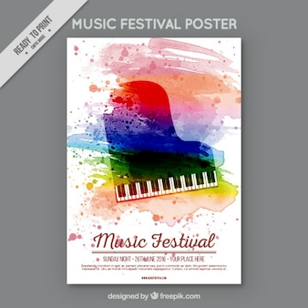 Aquarell-musik-festival-plakat mit einem klavier