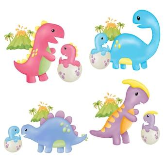 Aquarell muttertag dinosaurier clipart. digitale zeichnung
