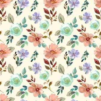 Aquarell nahtlose florale oberflächenmuster mit braunen und minziggrünen blumen
