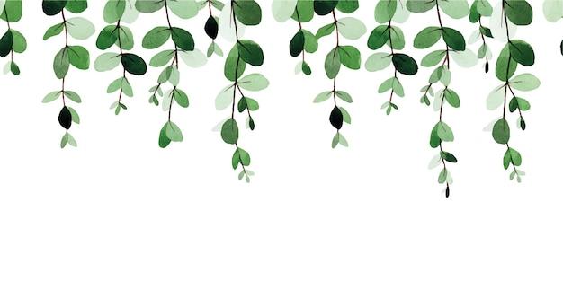 Aquarell nahtlose grenzmuster mit abstrakten eukalyptusblättern isoliert auf weiß
