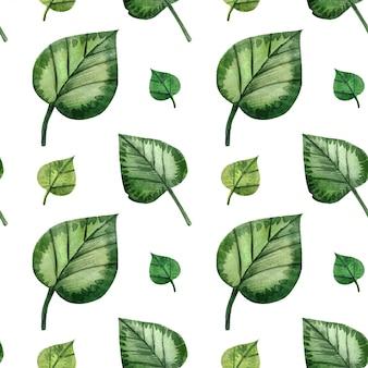 Aquarell nahtlose muster grüne waldblätter