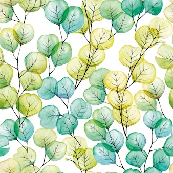 Aquarell nahtlose muster mit transparenten eukalyptusblättern blau grün gelb farbe