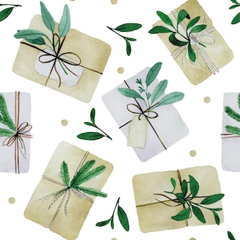 Aquarell nahtlose muster mit weihnachtsgeschenken im boho-stil