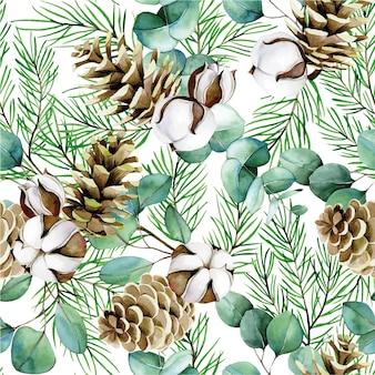 Aquarell nahtlose muster zum thema winter neujahr weihnachten baumwollblumen eukalyptus