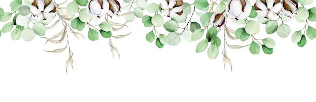 Aquarell nahtloser rahmen aus eukalyptusblättern und baumwollblumen