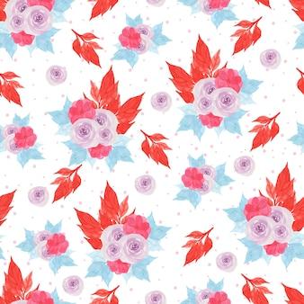 Aquarell-nahtloses blumenmuster mit schönen purpurroten rosen