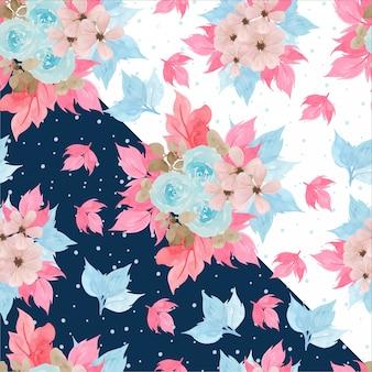 Aquarell-nahtloses blumenmuster mit schönen rosa rosen