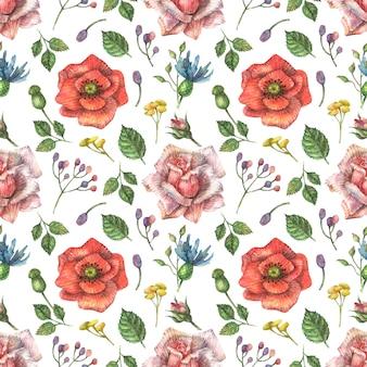 Aquarell nahtloses botanisches muster von hellen, roten wildblumen von mohn, rosa rosen und anderen pflanzen und blättern.