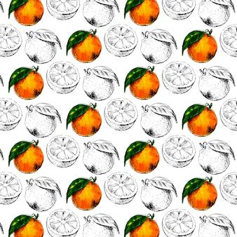 Aquarell nahtloses muster der orangenfrucht mit blättern. illustration von zitrusorangenfrüchten. öko-lebensmittelillustration sommerslogan