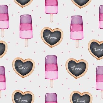 Aquarell nahtloses muster des liebeskonzepts, isoliertes aquarell-valentinsgrußkonzeptelement reizende romantische rot-rosa herzen für dekoration, illustration.