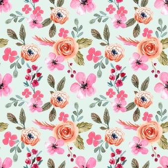 Aquarell nahtloses muster frühling rosa und warmes grünes blatt