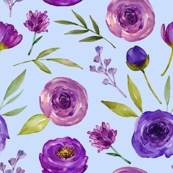 Aquarell nahtloses muster lila rosenaquarelle