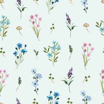 Aquarell nahtloses muster mit blauen und lila wildblumen