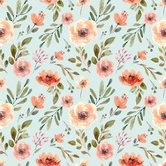 Aquarell nahtloses muster mit cremefarbenen pastellblumen und blättern