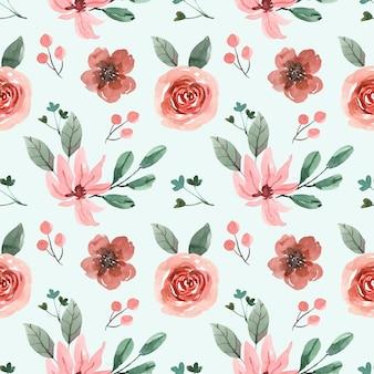 Aquarell nahtloses muster mit cremiger rosa rose und blättern