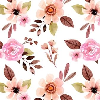 Aquarell nahtloses muster mit hübscher rosa rose und cremefarbener blume