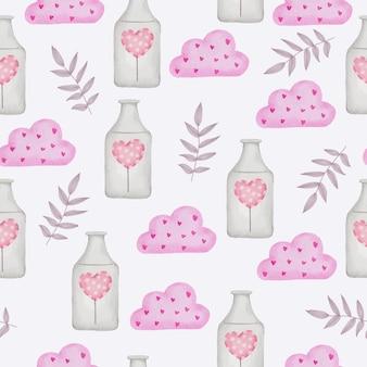 Aquarell nahtloses muster mit liebesobjekt, isoliertes aquarell-valentinsgrußkonzeptelement reizende romantische rot-rosa herzen für dekoration, illustration.