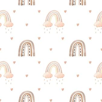 Aquarell nahtloses muster mit regenbögen, wolken und herzen heart