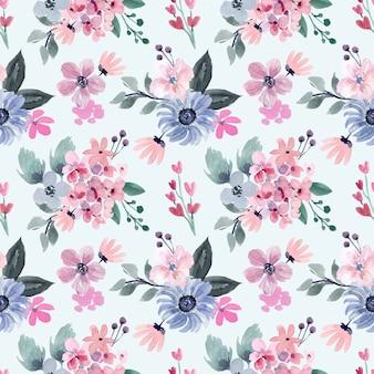 Aquarell nahtloses muster mit rosa und weichen blauen blumen