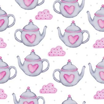 Aquarell nahtloses muster mit teekanne und herz auf rosa wolke, isoliertes aquarell-valentinsgrußkonzeptelement reizende romantische rot-rosa herzen für dekoration, illustration.