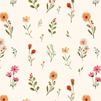 Aquarell nahtloses muster mit warmen wildblumen
