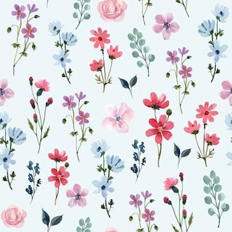 Aquarell nahtloses muster mit wildblumen