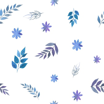Aquarell nahtloses muster von blauen zweigen und blättern auf einem weißen hintergrund für geschenkpapier