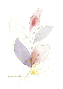 Aquarell natürliche kunst-einladungskarte aus goldenen sanften blättern, die mit goldspritzer verziert sind. botanisches aquarell der kunst handgemalt lokalisiert auf weißem hintergrund. pinsel in datei enthalten.