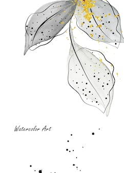 Aquarell natürliche kunst einladungskarte aus grünen blättern zweige verziert mit goldenen tropfen. botanisches aquarell der kunst handgemalt lokalisiert auf weißem hintergrund. pinsel in datei enthalten.