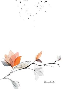 Aquarell natürliche kunst einladungskarte mit zweigen, blättern und orangefarbenen blumen. botanisches aquarell der kunst handgemalt lokalisiert auf weißem hintergrund. pinsel in datei enthalten.