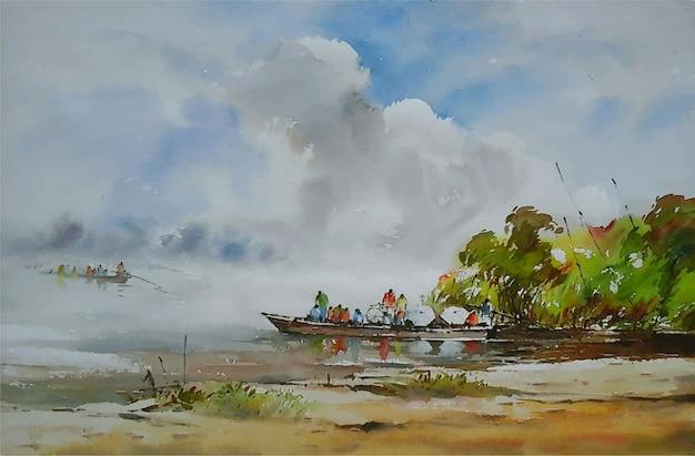 Aquarell natur gemälde boot kreuzung mit völkern
