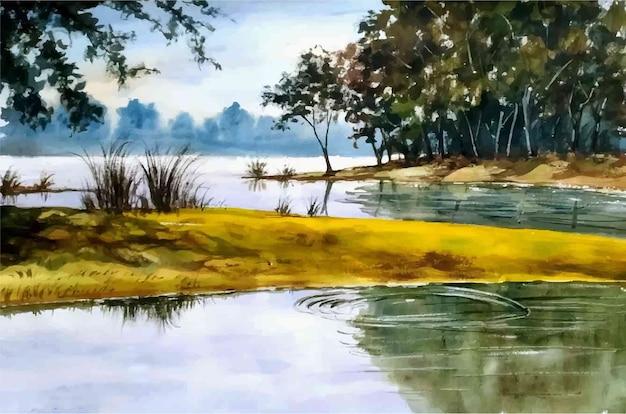 Aquarell naturlandschaft ländliche und handgezeichnete seeillustration