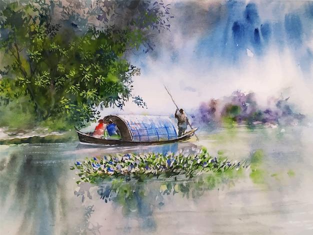 Aquarell-naturlandschaftsskizze auf gezeichneter illustration der hand