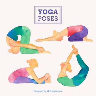 Aquarell nette yoga-posen