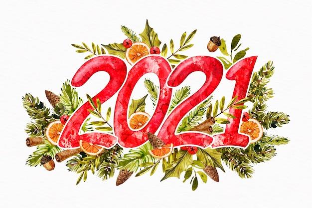 Aquarell neues jahr 2021