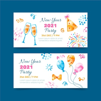 Aquarell neujahr 2021 party banner