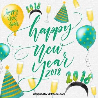Aquarell neujahr hintergrund mit partyhüten und luftballons